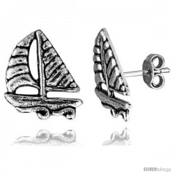 Tiny Sterling Silver Sailboat Stud Earrings 9/16 in