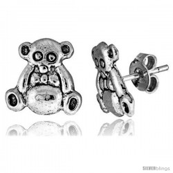 Tiny Sterling Silver Bear Stud Earrings 3/8 in