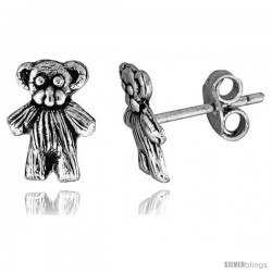 Tiny Sterling Silver Bear Stud Earrings 3/8 in -Style Es160