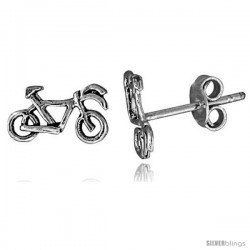 Tiny Sterling Silver Bicycle Stud Earrings 7/16 in
