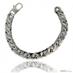 Stainless Steel Men's Flat Cuban Link Bracelet Hefty Hand Made High polish 1/2 in wide, size 8.5 in