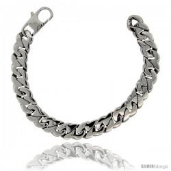 Stainless Steel Men's Flat Cuban Link Bracelet Hefty Hand Made High polish 1/2 in wide, size 8.5 in