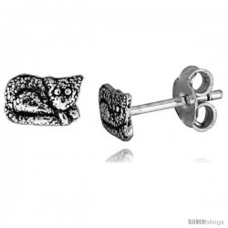 Tiny Sterling Silver Cat Stud Earrings 5/16 in