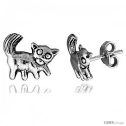 Tiny Sterling Silver Cat Stud Earrings 7/16 in