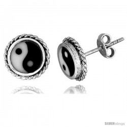 Sterling Silver Yin and yang Stud Earrings 3/8 in