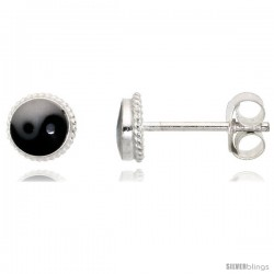 Tiny Sterling Silver Yin and yang Stud Earrings, 3/16 in