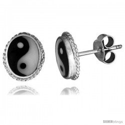 Sterling Silver Yin-Yang Stud Earrings, 3/8 X 5/16 in