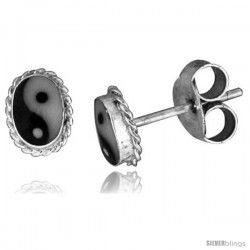 Sterling Silver Yin-Yang Stud Earrings 1/4 X 3/16 in( 6mm X 5 mm)