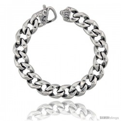 Stainless Steel Men's Cuban Open Link Bracelet Fleur De Lis Clasp Hefty Hand Made High polish, size 8.5 in