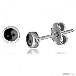 Tiny Sterling Silver Yin-Yang Nose Studs / Earrings 1/16 in