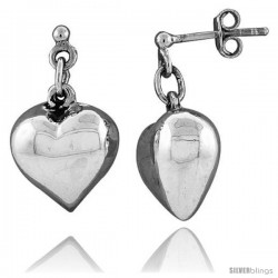 Small Sterling Silver Heart Earrings 13/16 in