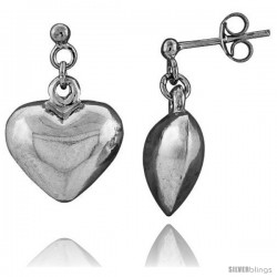 Tiny Sterling Silver Heart Earrings 5/8 in