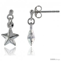 Tiny Sterling Silver Dangle Star Earrings, 5/8 intall