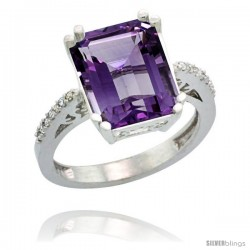 Sterling Silver Diamond Amethyst Ring 5.83 ct Emerald Shape 12x10 Stone 1/2 in wide