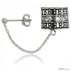 Sterling Silver Ear Cuff Earring (one piece) with Ball Stud and Chain 1/2 in -Style Es193