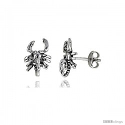 Tiny Sterling Silver Scorpion Stud Earrings 7/16 in