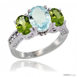 14K White Gold Ladies 3-Stone Oval Natural Aquamarine Ring with Peridot Sides Diamond Accent