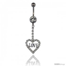 Surgical Steel Heart (LOVE) Belly Button Ring w/ Crystals, 1 5/8 in (41 mm) tall (Navel Piercing Body Jewelry)
