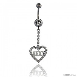 Surgical Steel Heart (SExY) Belly Button Ring w/ Crystals, 1 5/8 in (41 mm) tall (Navel Piercing Body Jewelry)