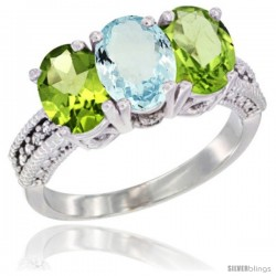 14K White Gold Natural Aquamarine & Peridot Sides Ring 3-Stone 7x5 mm Oval Diamond Accent