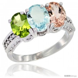14K White Gold Natural Peridot, Aquamarine & Morganite Ring 3-Stone 7x5 mm Oval Diamond Accent