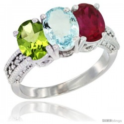 14K White Gold Natural Peridot, Aquamarine & Ruby Ring 3-Stone 7x5 mm Oval Diamond Accent