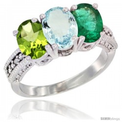 14K White Gold Natural Peridot, Aquamarine & Emerald Ring 3-Stone 7x5 mm Oval Diamond Accent