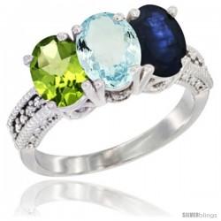 14K White Gold Natural Peridot, Aquamarine & Blue Sapphire Ring 3-Stone 7x5 mm Oval Diamond Accent