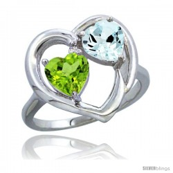14k White Gold 2-Stone Heart Ring 6mm Natural Peridot & Aquamarine Diamond Accent