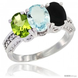 14K White Gold Natural Peridot, Aquamarine & Black Onyx Ring 3-Stone 7x5 mm Oval Diamond Accent