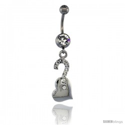 Surgical Steel Question Mark on Heart Belly Button Ring w/ Crystals, 1 1/2 in (36 mm) tall (Navel Piercing Body Jewelry)