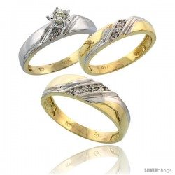 10k Yellow Gold Diamond Trio Wedding Ring Set His 6mm & Hers 4.5mm