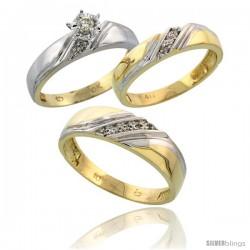 10k Yellow Gold Diamond Trio Wedding Ring Set His 6mm & Hers 4.5mm