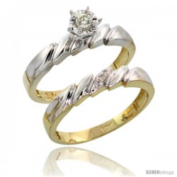 10k Yellow Gold Ladies' 2-Piece Diamond Engagement Wedding Ring Set, 5/32 in wide