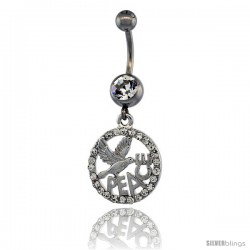 Surgical Steel PEACE Belly Button Ring w/ Crystals, 1 3/16 in (30 mm) tall (Navel Piercing Body Jewelry)