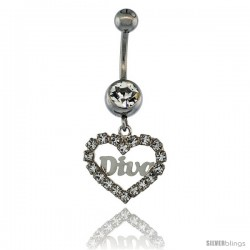 Surgical Steel Heart (DIVA) Belly Button Ring w/ Crystals, 1 in (25 mm) tall (Navel Piercing Body Jewelry)