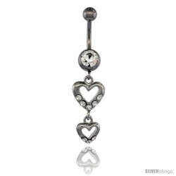 Surgical Steel Double Heart Cut Out Belly Button Ring w/ Crystals, 1 5/16 in (33 mm) tall (Navel Piercing Body Jewelry)
