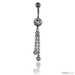 Surgical Steel Double Dangle Strand Belly Button Ring w/ Crystals, 1 5/8 in (41 mm) tall (Navel Piercing Body Jewelry)