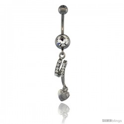 Surgical Steel Dangle Heart Belly Button Ring w/ Crystals, 1 3/8 in (35 mm) tall (Navel Piercing Body Jewelry)