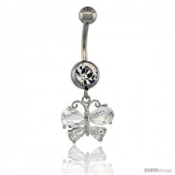 Surgical Steel Butterfly Belly Button Ring w/ Crystals, 7/8 in (22 mm) tall (Navel Piercing Body Jewelry)