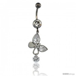 Surgical Steel Butterfly Belly Button Ring w/ Crystals, 1 1/2 in (37 mm) tall (Navel Piercing Body Jewelry)