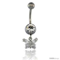 Surgical Steel Butterfly Belly Button Ring w/ Crystals, 3/4 in (17 mm) tall (Navel Piercing Body Jewelry)