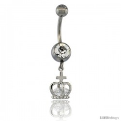 Surgical Steel King Crown Belly Button Ring w/ Crystals, 7/8 in (22 mm) tall (Navel Piercing Body Jewelry)