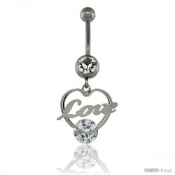 Surgical Steel Love / Heart Belly Button Ring w/ Crystals, 1 1/8 in (28 mm) tall (Navel Piercing Body Jewelry)