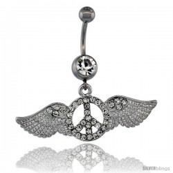 Surgical Steel Peace Sign Belly Button Ring w/ Crystals, 1 3/4 in (43 mm) wide, (Navel Piercing Body Jewelry)