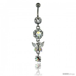 Surgical Steel Dangle Flower & Butterfly Belly Button Ring w/ Crystals, 2 5/16 in (59 mm) tall (Navel Piercing Body Jewelry)