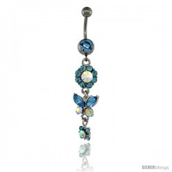 Surgical Steel Dangle Flower & Butterfly Belly Button Ring w/ Blue Crystals, 2 5/16 in (59 mm) tall (Navel Piercing Body