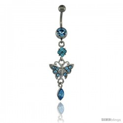 Surgical Steel Dangle Butterfly Belly Button Ring w/ Blue Crystals, 2 5/16 in (59 mm) tall (Navel Piercing Body Jewelry)