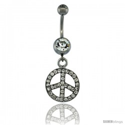Surgical Steel Dangle Peace Sign Belly Button Ring w/ Crystals, 1 1/2 in (38 mm) tall (Navel Piercing Body Jewelry)