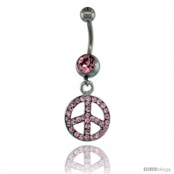 Surgical Steel Dangle Peace Sign Belly Button Ring w/ Pink Crystals, 1 1/2 in (38 mm) tall (Navel Piercing Body Jewelry)